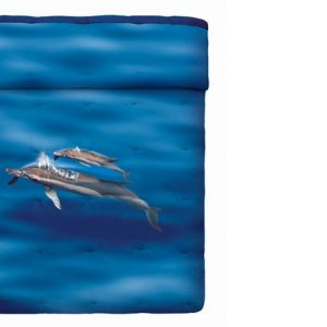 Quilt animali Bassetti matrimoniale Blue Dolphins delfino-0