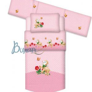 Trapunta con paracolpi Agnellino rosa letto baby con sponde-0