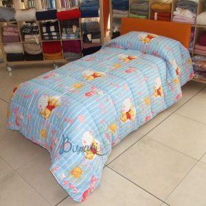 Trapunta Pooh cuori piazza mezzo azzurro Caleffi cm.220x265 - peso invernale-0