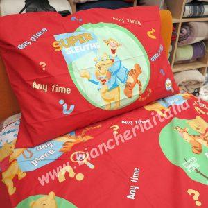 Copripiumino Pooh & Tigro rosso singolo caleffi (sacco cm.155x250 + sotto lenzuolo 90x200+ 1 federa)-0