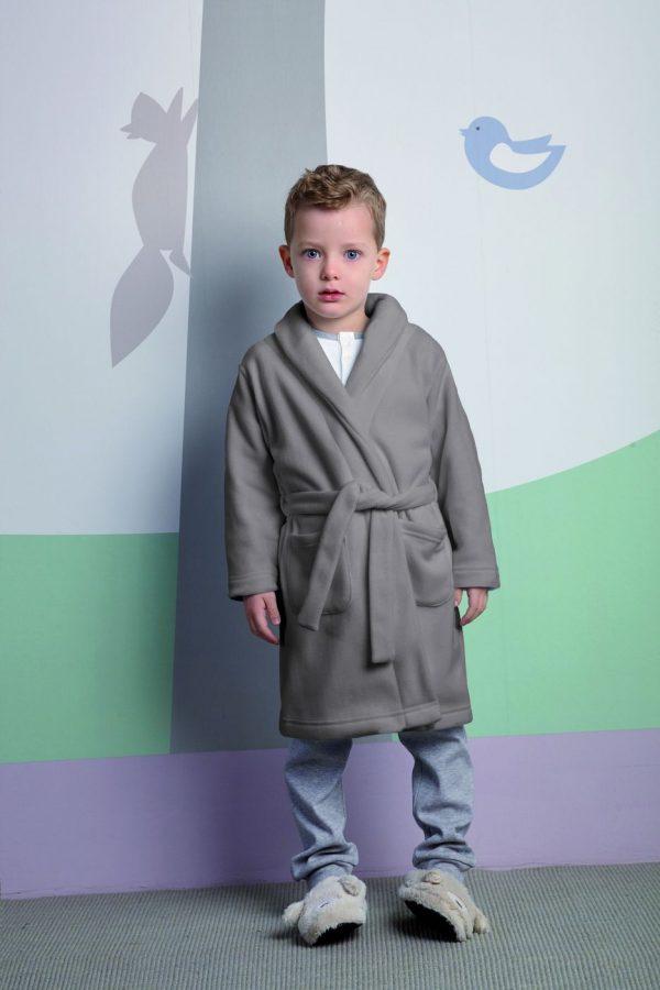 Vestaglia bambino con cintura grigia in pile 6M93693