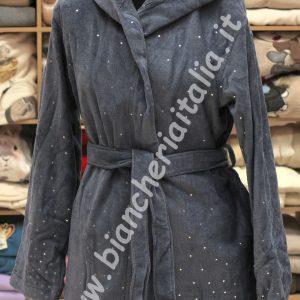Accappatoio donna spugna cimata 6m96543 U870 grigio-0