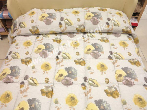 Trapunta SWINDON BEIGE SOMMA matrimoniale cm.270x270 -peso invernale -tessuto lato superiore RASO STAMPATO -0