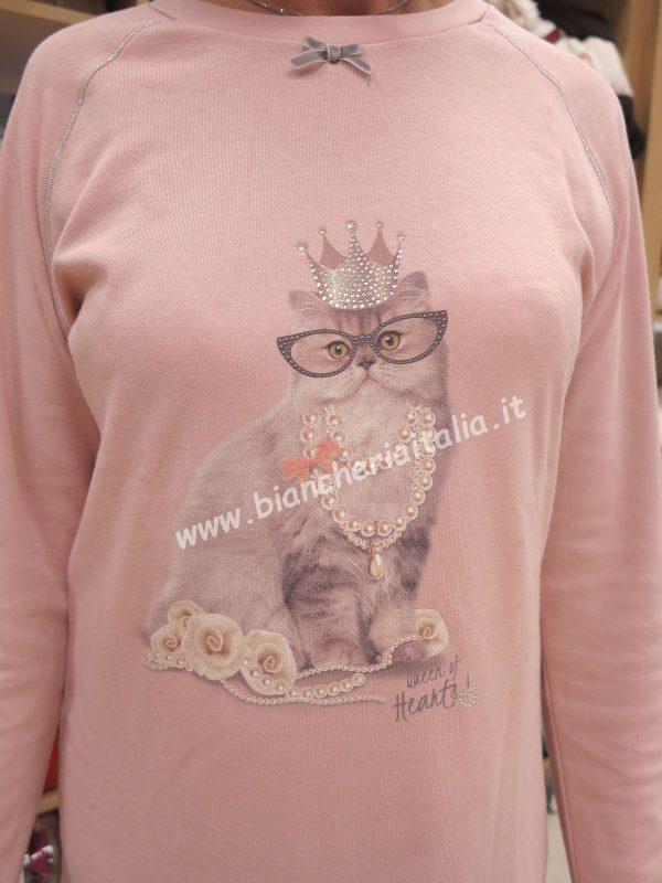 Camicia notte donna 6M92022 b370 ROSA invernale-30251