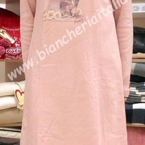 Camicia notte donna 6M92022 b370 ROSA invernale-0