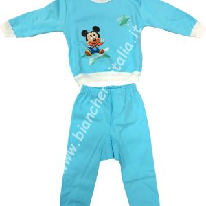 Pigiama bimbo invernale Baby Mickey azzurro-0