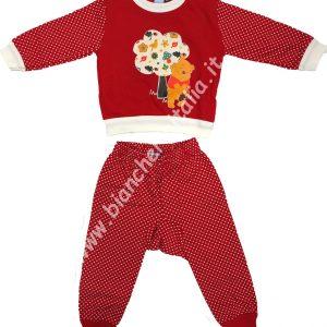 Pigiama bimbo invernale Baby Pooh natura rosso-0
