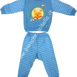 Pigiama bimbo invernale Baby Pooh miele azzurro-0