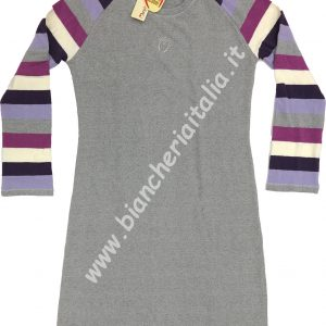 Camicia notte donna 6M91015 GRIGIO TAGLIA L tessito invernale caldo e morbido-0