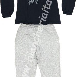 Pigiama donna BLU e pantalone grigio 6m91580 invernale MARYPLAYD TAGLIA XS -0