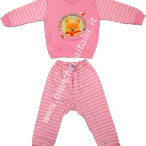 Pigiama bimbo invernale Baby Pooh miele ROSA-0