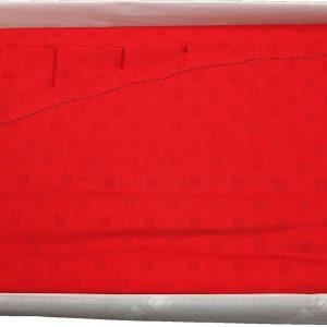 Tovaglia ROTONDA 8 posti diametro 180 tinto indanthrene ROSSO + tovaglioli TAG HOUSE-0