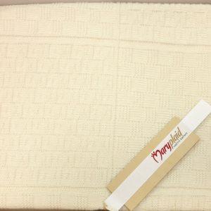 Copriletto tricot carrozzina panna misto lana 6m61797
