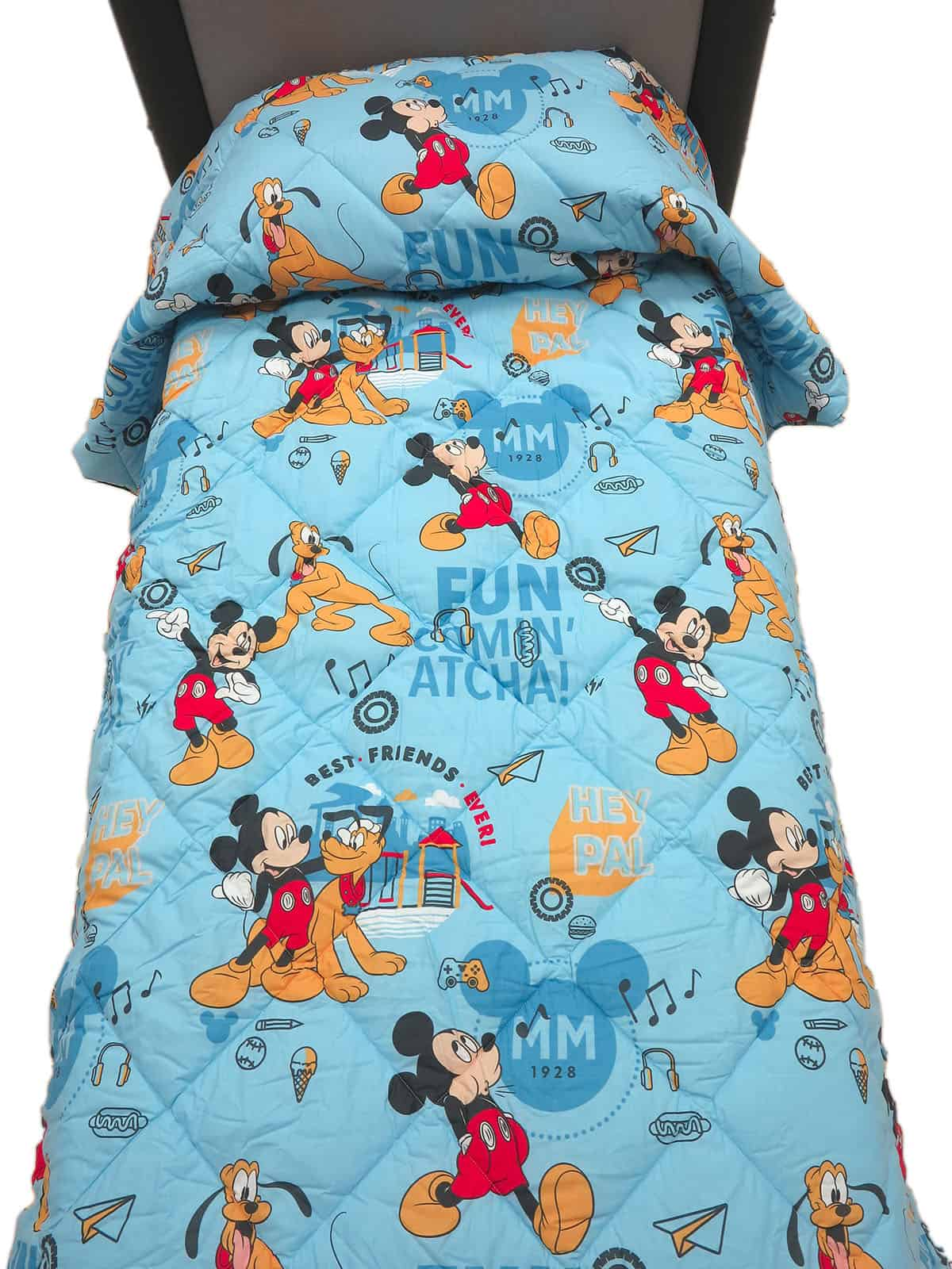 Trapunta Estiva Singola Disney.Trapunta Mickey Pluto Caleffi Singola Azzurro Tessuto Cotone