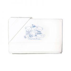 Lenzuolo letto baby con sponde 6M93834 ORSETTI AZZURRO (sopra lenzuolo 120x180 + sotto 60x130 + 1 federa 40x60) maryplaid campagnolo