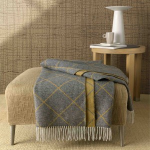 PLAID Somma GOLD JACQUARD cm.130x180 con frange DOUBLE FACE