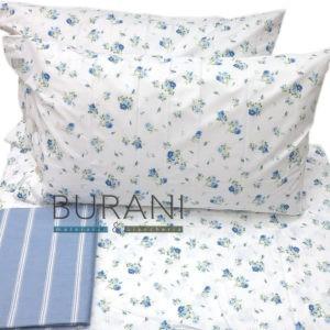 Lenzuolo Bossi percalle 8394 Lorette azzurro - completo letto